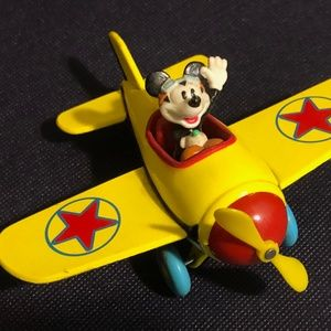 Vintage Mickey Mouse Diecast Yellow Airplane Decop